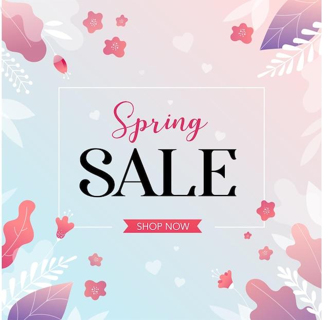 Tło Wiosna Sprzedaży Z Pięknymi Kolorowymi Kwiatami. Ilustracji Wektorowych. Premium Wektorów