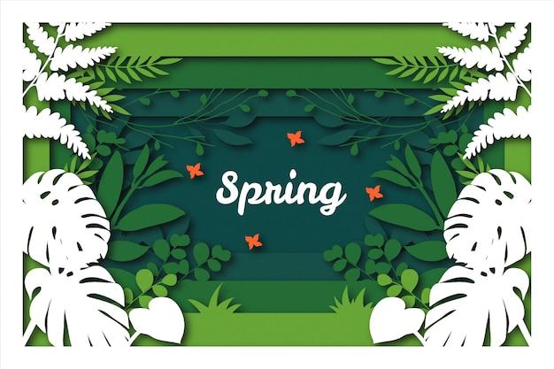 Tło Wiosna Styl Papieru Darmowych Wektorów