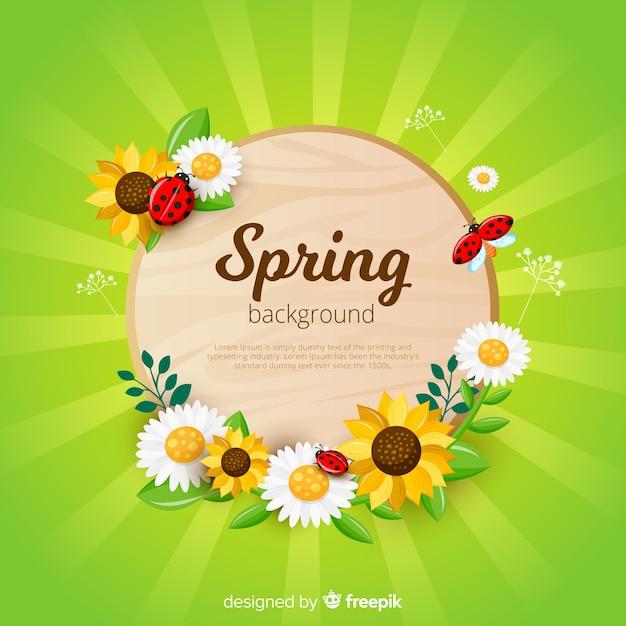 Tło wiosna sunburst Darmowych Wektorów