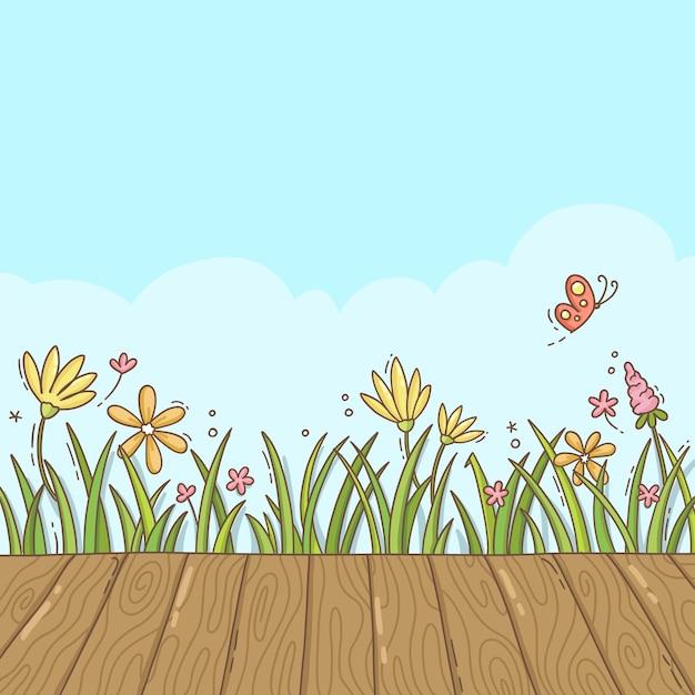 Tło Wiosna światło Z Polne Kwiaty Premium Wektorów