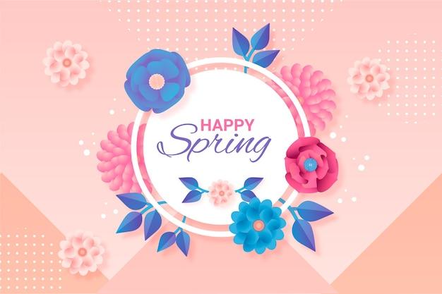 Tło Wiosna W Stylu Papieru Darmowych Wektorów
