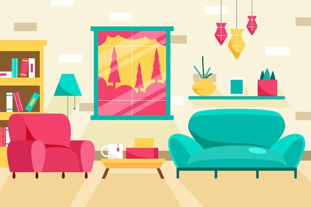 Tło Wnętrza Domu Niebieska Sofa I Różowy Fotel Darmowych Wektorów