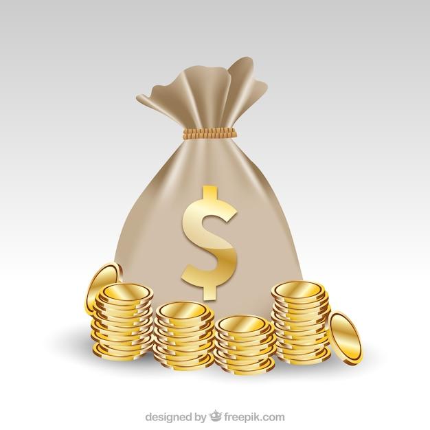 Tło worka z symbolem dolara i złotych monet Darmowych Wektorów