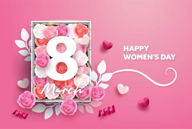 Tło Z 8 Marca. Międzynarodowy Dzień Szczęśliwych Kobiet. Realistyczne Serca I Styl Róży I Papieru. Premium Wektorów