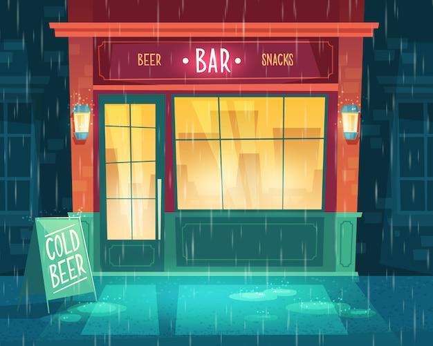 Tło z barem przy złej pogodzie, deszcz. fasada budynku z podświetleniem, szyld. Darmowych Wektorów
