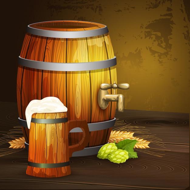 Tło Z Beczki Z Piwem Dębowym Darmowych Wektorów