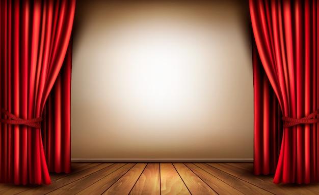 Tło Z Czerwoną Aksamitną Zasłoną I Drewnianą Podłogą. Premium Wektorów