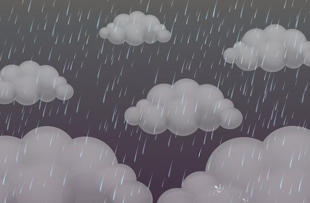 Tło z deszczem w ciemnym niebie Darmowych Wektorów