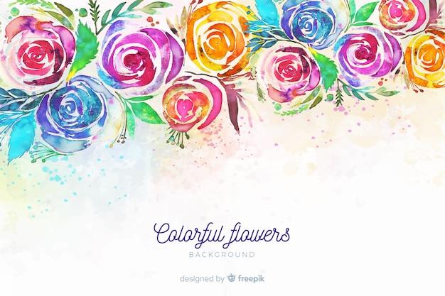 Tło z kolorowymi malującymi kwiatami Darmowych Wektorów