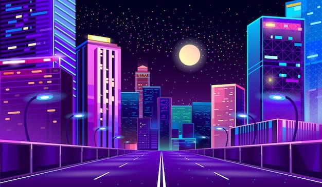 Tło z miastem noc w neony Darmowych Wektorów