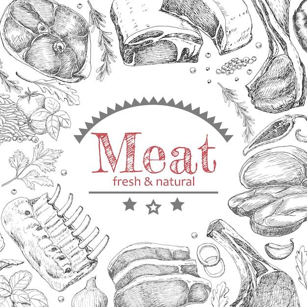 Tło z produktami mięsnymi Premium Wektorów