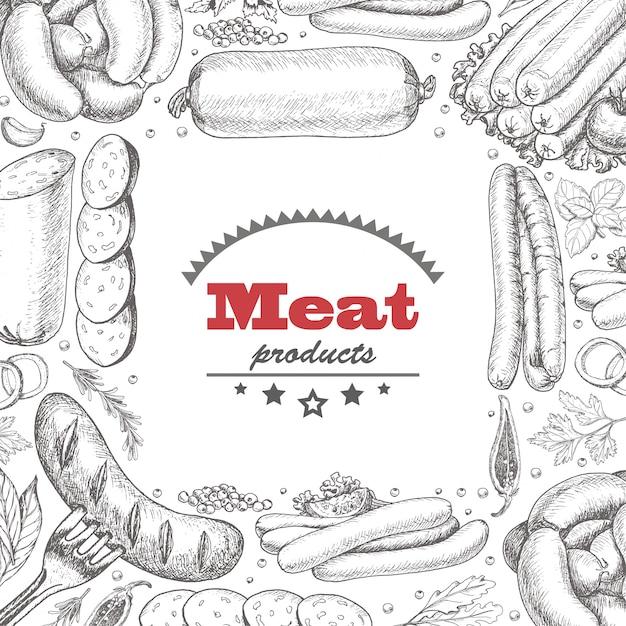 Tło z produktów mięsnych Premium Wektorów