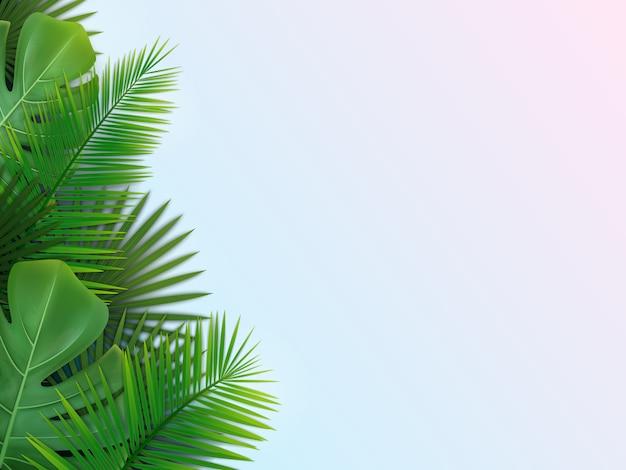 Tło z tropikalnych liści Premium Wektorów