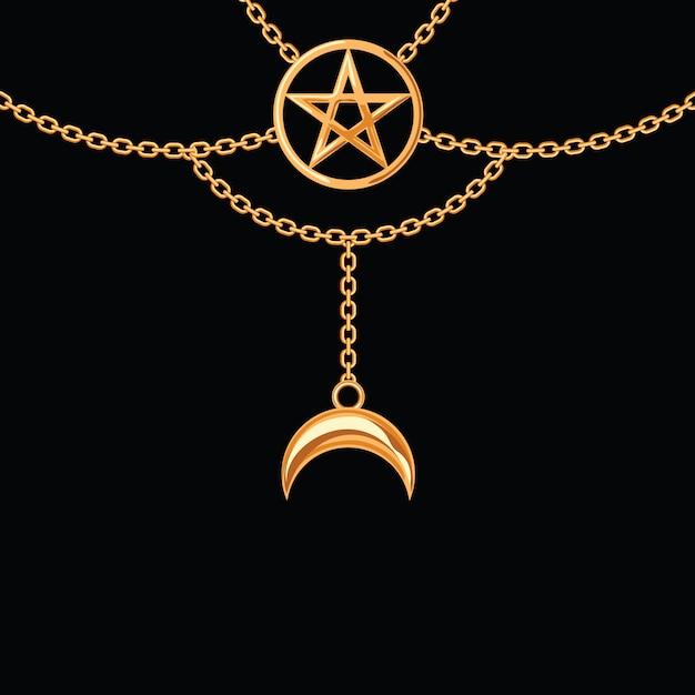 Tło z złotą kruszcową kolią. wisiorek i łańcuchy pentagramu. na czarno. Premium Wektorów