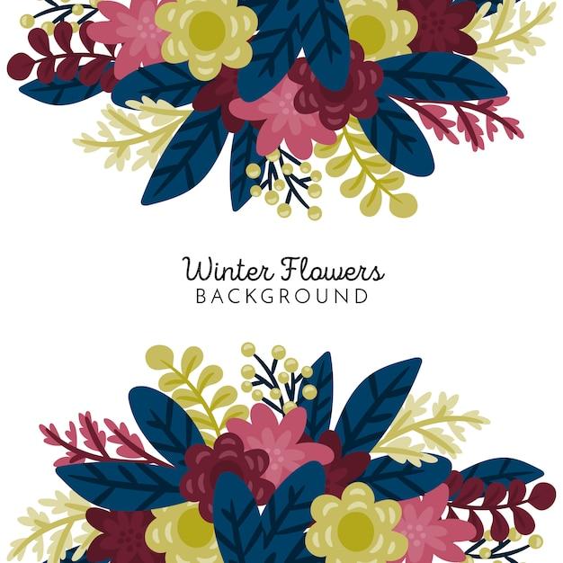 Tło zimowe kwiaty Darmowych Wektorów