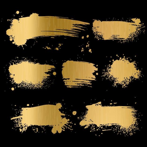 Tło Złoto Grunge. Czarna Tekstura Na Złotym Papierze Foliowym Na Luksusową Kartę Glamour Premium Modna Stara Koncepcja Sztuki Pędzla Premium Wektorów