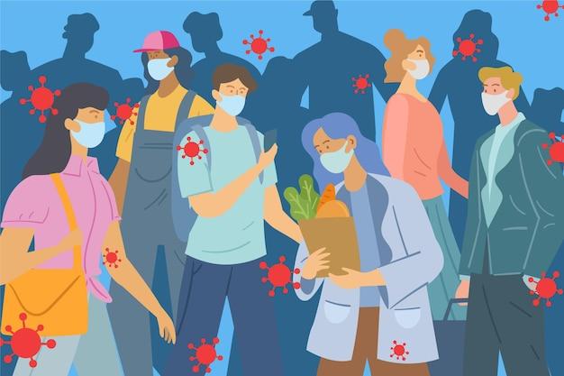 Tłum Ludzi Noszących Maski Medyczne Darmowych Wektorów
