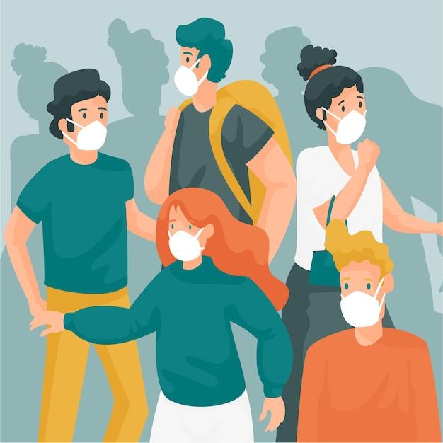 Tłum Ludzi Noszących Maski Na Twarz Darmowych Wektorów