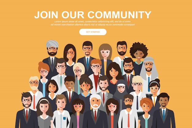 Tłum ludzi zjednoczonych jako społeczność biznesowa lub kreatywna Premium Wektorów