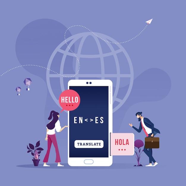 Tłumacz Online W Telefonie Komórkowym Premium Wektorów