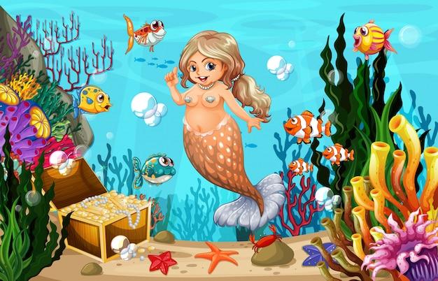 Tłuszczowa Syrenka I Ryby W Morzu Premium Wektorów