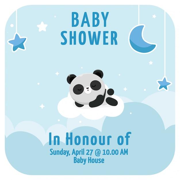 To Jest Panda Z Baby Boyem W Tle Premium Wektorów