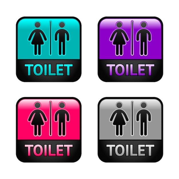 Toaleta - kolorowe symbole Premium Wektorów