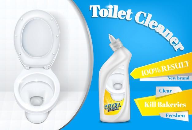 Toaletowy cleaner plakat reklamowy szablon biała plastikowa detergentowa butelka i toaleta Darmowych Wektorów