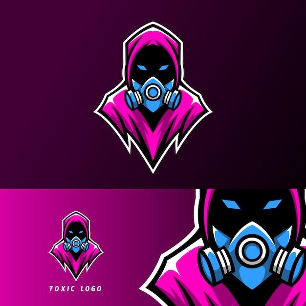 Toksyczna maska sport esport logo szablon projektu Premium Wektorów