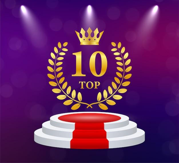 Top 10. Złoty Wieniec Laurowy. Nagroda Za Zwycięstwo Puchar Trofeum. Ilustracja. Premium Wektorów