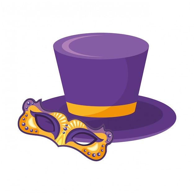 Top Hat Z Maską Premium Wektorów