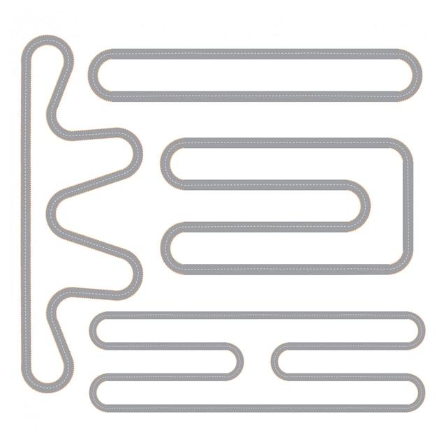 Tor wyścigowy cztery pojedyncze wzory ustawione Darmowych Wektorów