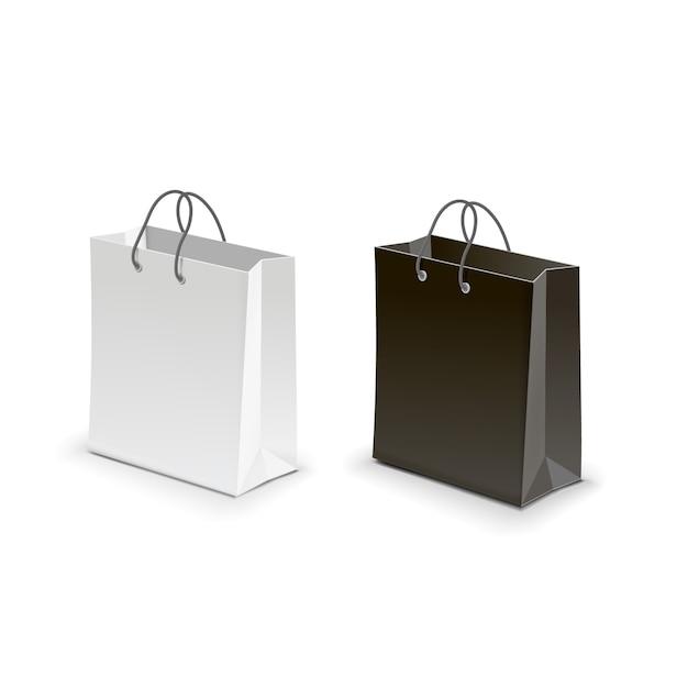 Torba na zakupy czarna biała wektorowa ilustracja Premium Wektorów