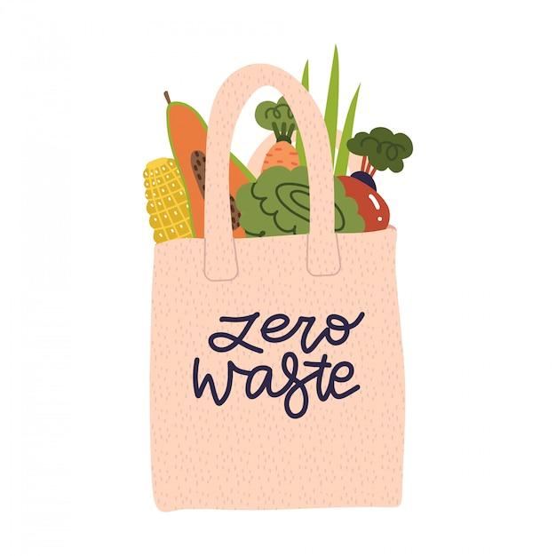 Torba Na Zakupy Spożywcza Wielokrotnego Użytku Z Warzywami, Owocami I Produktami Bez Opakowania. Bawełniana Torba Ekologiczna, Bez Plastikowej Koncepcji. Zero Odpadów Napis Płaski Ilustracji Wektorowych. Premium Wektorów