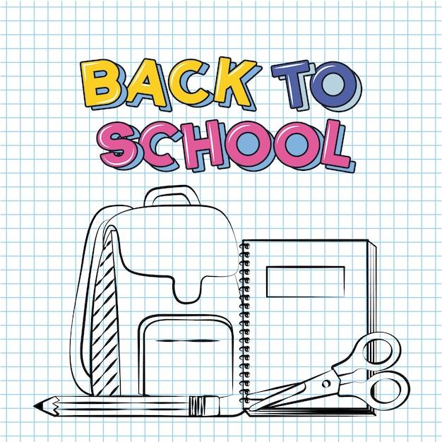 Torba, ołówek, nożyczek, notatnik, powrót do szkoły doodle narysowany na arkuszu siatki Darmowych Wektorów