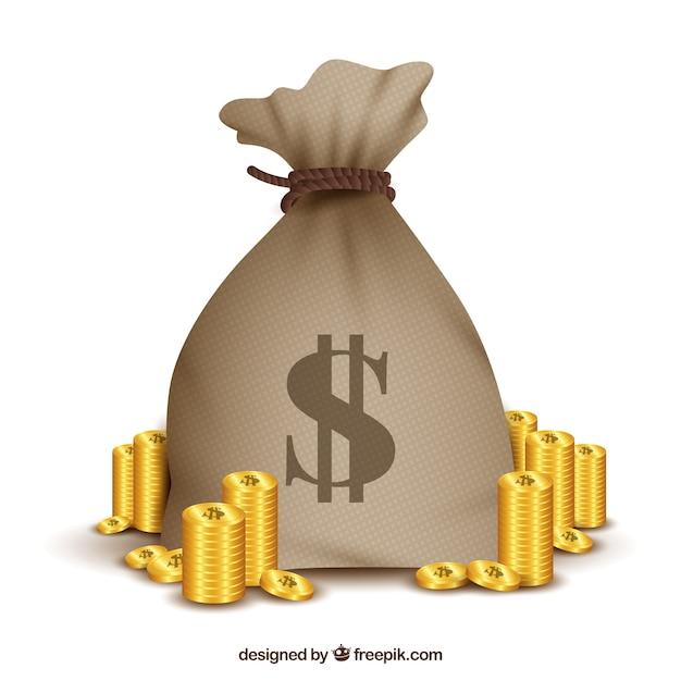 Torba z symbolem dolara i złotymi monetami Darmowych Wektorów