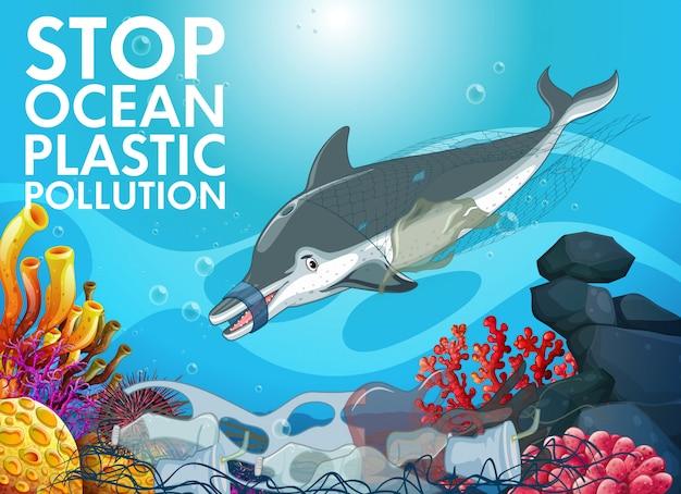 Torby Delfinowe I Plastikowe W Oceanie Darmowych Wektorów