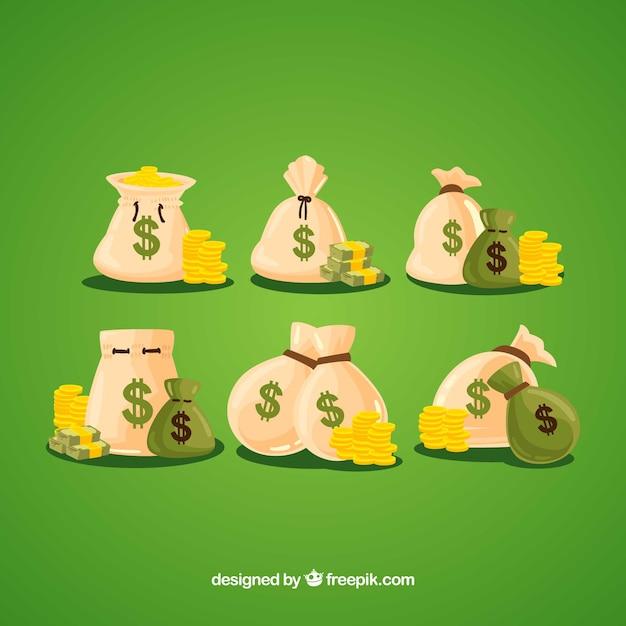 Torby na pieniądze z monetami Darmowych Wektorów