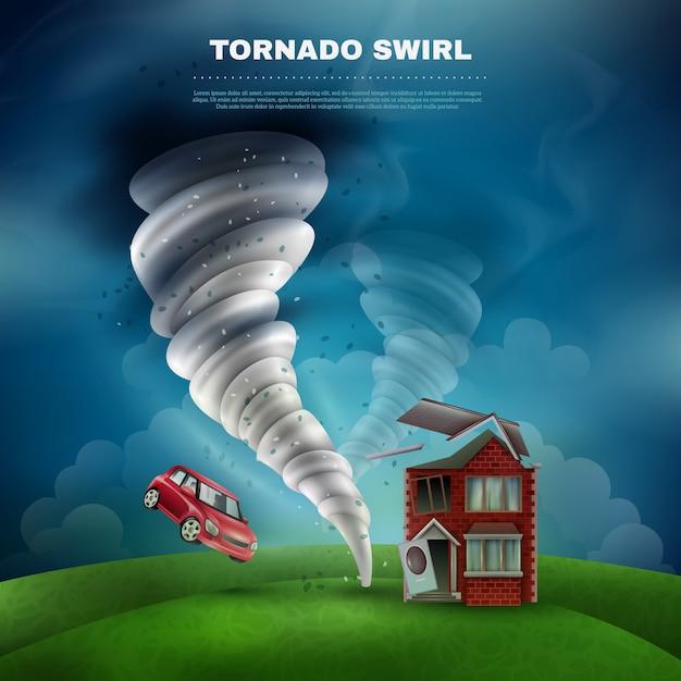 Tornado natural disaster illustration Darmowych Wektorów