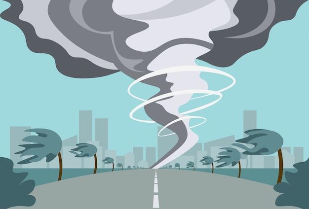 Tornado W Wiejskim Huraganie Krajobraz Burzy Waterspout Twister W Polu Koncepcja Katastrofy Naturalnej Premium Wektorów
