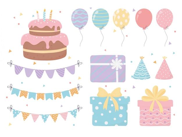 Tort Urodzinowy Czapki Pudełka Na Prezenty Balony Proporczyki Konfetti Uroczystości Dekoracje świąteczne Premium Wektorów