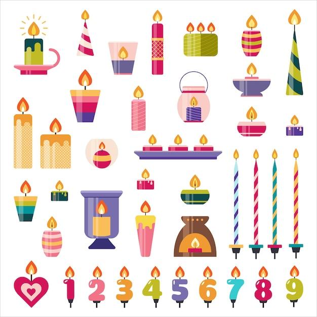Tort Urodzinowy I Zestaw świątecznych świec. Liczby Z Płomieniem Premium Wektorów