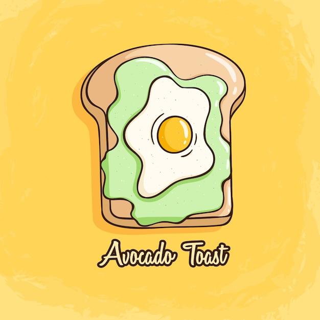 Tost z awokado z jajkiem sadzonym i chlebem. śliczne tosty z awokado w stylu doodle kolorowe Premium Wektorów