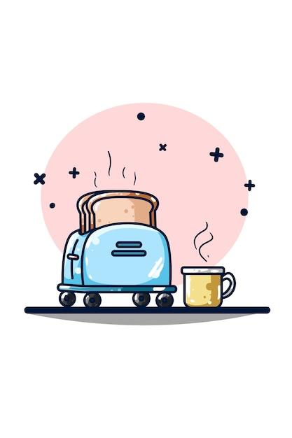 Toster I Ekspres Do Kawy Premium Wektorów
