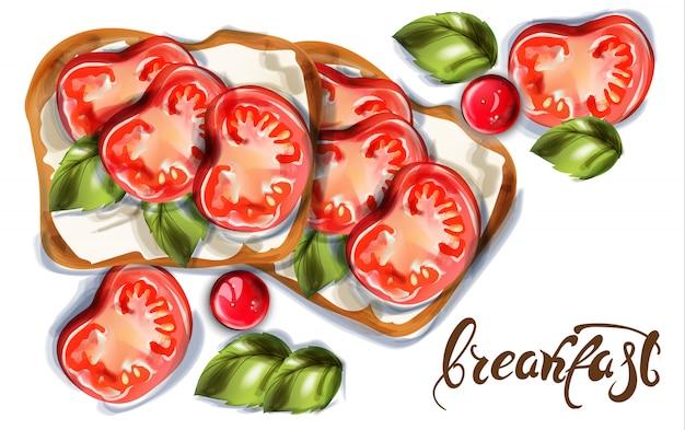 Tosty śniadaniowe z kozim serem i pomidorami cherry Premium Wektorów