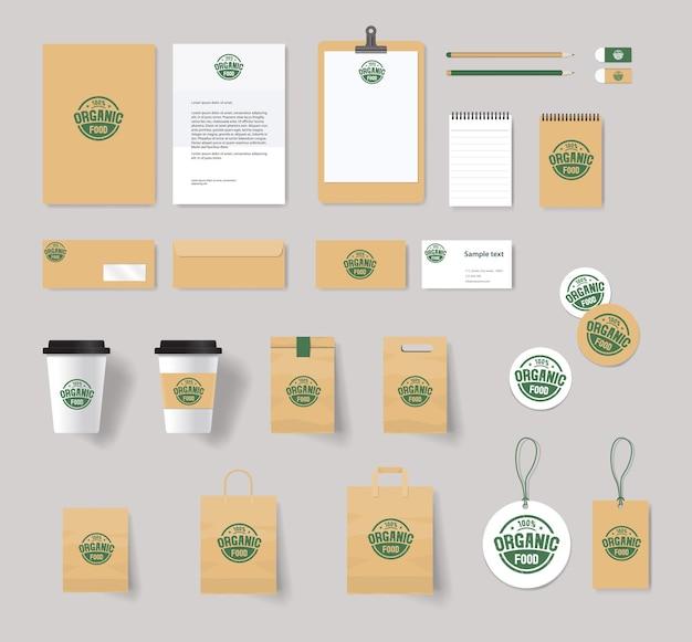 Tożsamość Marki żywności Ekologicznej Z Projektem Logo Premium Wektorów