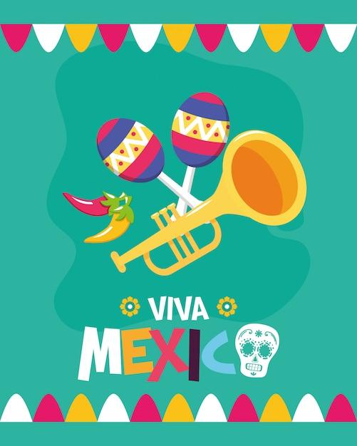 Trąbka i marakasy dla viva mexico Darmowych Wektorów