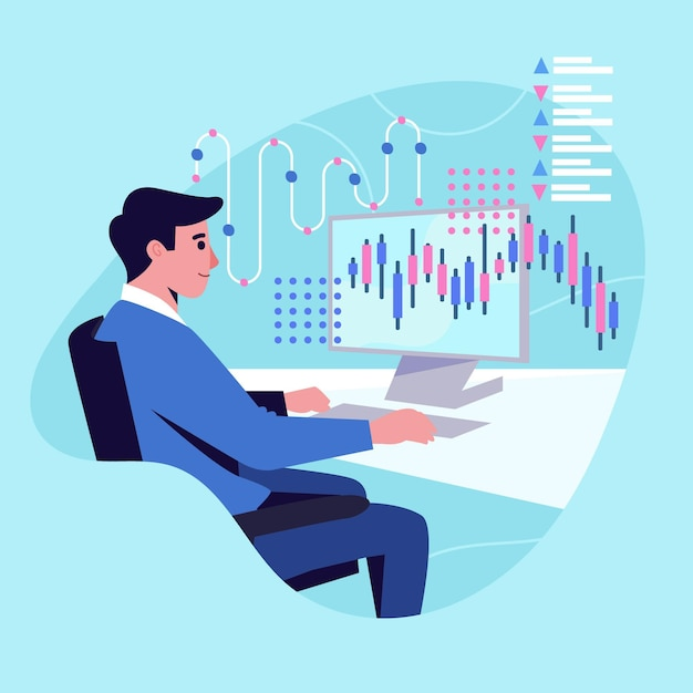Trader Pracuje Premium Wektorów