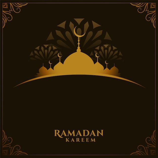 Tradycyjna Karta Festiwalu Ramadan Kareem Z Miejsca Na Tekst Darmowych Wektorów