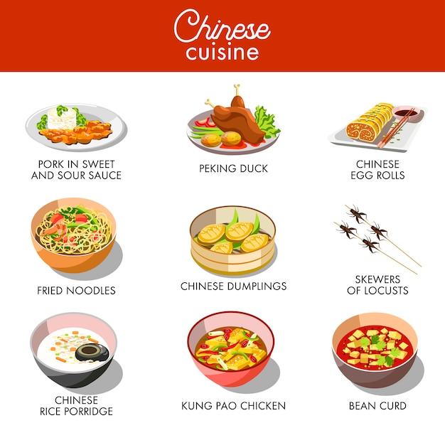 Tradycyjne dania kuchni chińskiej wektor płaski zestaw ikon Premium Wektorów